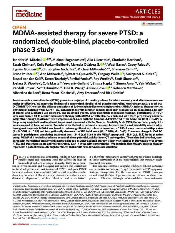 MDMA-assisted therapy for severe PTSD: a randomized, double-blind, placebo-controlled phase 3 study
