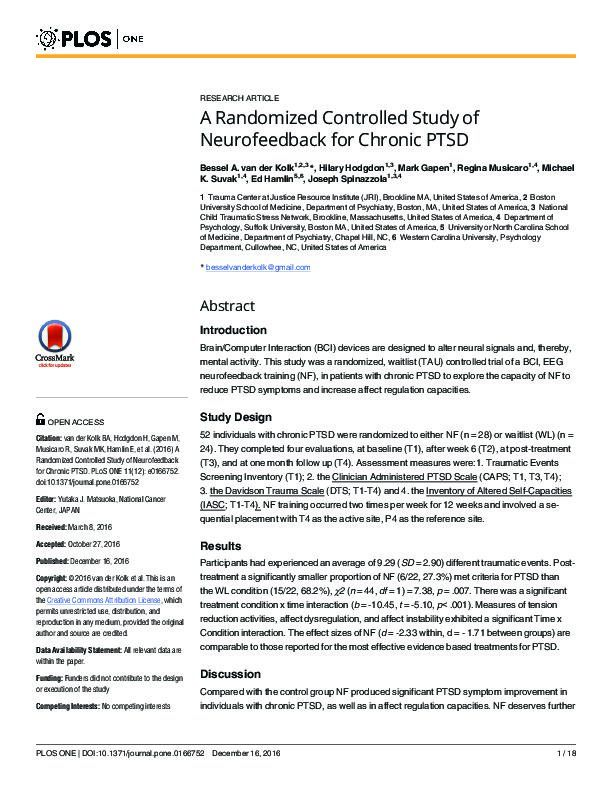 A Randomized Controlled Study of Neurofeedback
